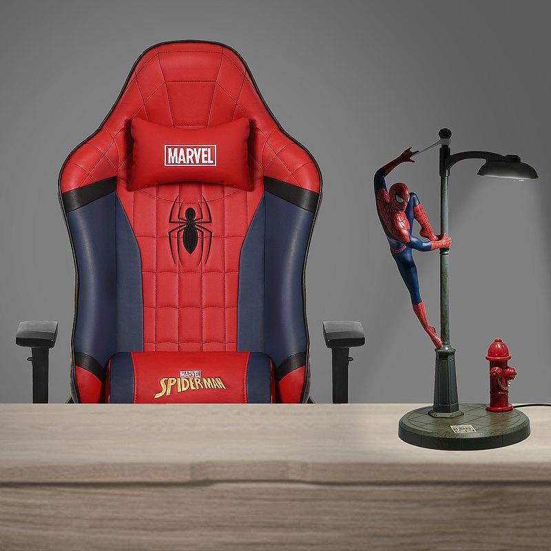 官方授權蜘蛛俠紅藍雙色遊戲高階電競椅連蜘蛛俠復古夜燈套裝