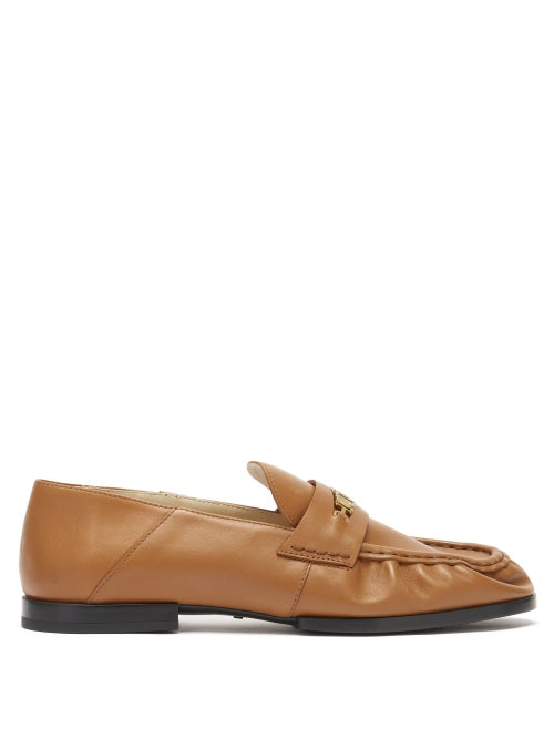 Tod's - Collapsible-heel Leather Loafers - Womens - Tan Gold