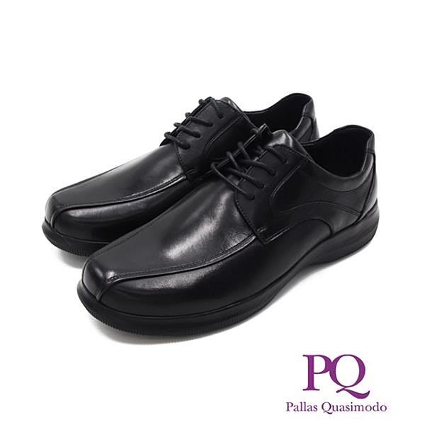 【南紡購物中心】PQ(男)輕量系圓頭綁帶皮鞋 男鞋-黑
