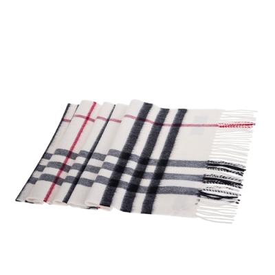 BURBERRY 經典格紋喀什米爾圍巾(白色/168X30)