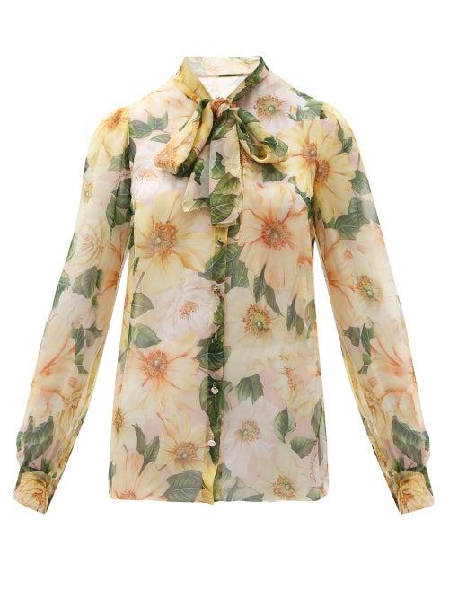 Dolce & Gabbana - Pussy-bow Camellia-print Silk-chiffon Blouse - Womens - Yellow Multi