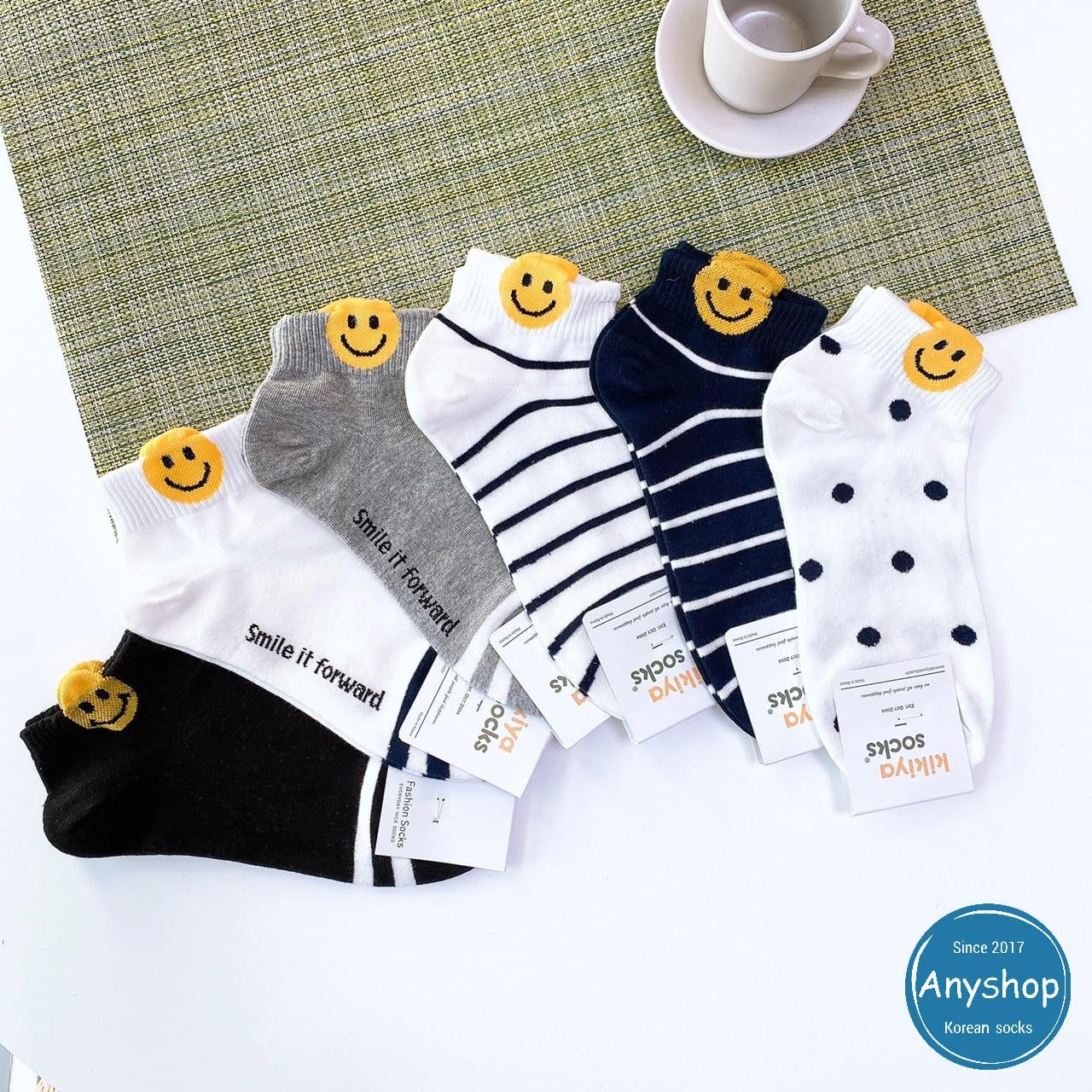 韓國襪-[Anyshop]笑臉條紋點點短襪