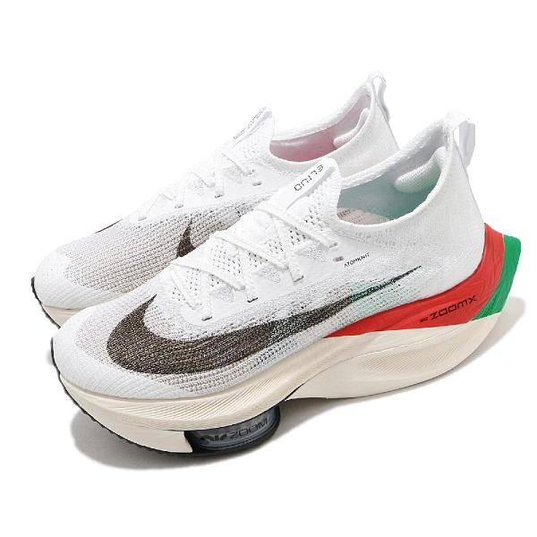 Nike 慢跑鞋 Wmns Air Zoom Alphafly Next% EK Kipchoge 白 綠 紅 女鞋 ZoomX 氣墊【ACS】 DD8878-101