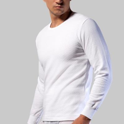 三槍牌 舒適雙層緹花圓領保暖男衛生衣 白 2件組