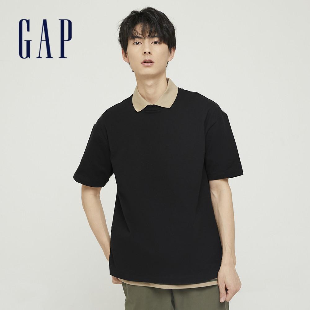 Gap 男裝 棉質厚磅舒適圓領短袖T恤 590048-黑色