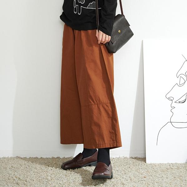 【慢。生活】鬆緊腰大口袋闊腿長褲 K2615  FREE 咖啡色