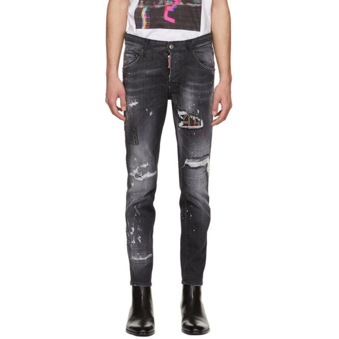 Dsquared2 黑色 Studded Skater 牛仔裤