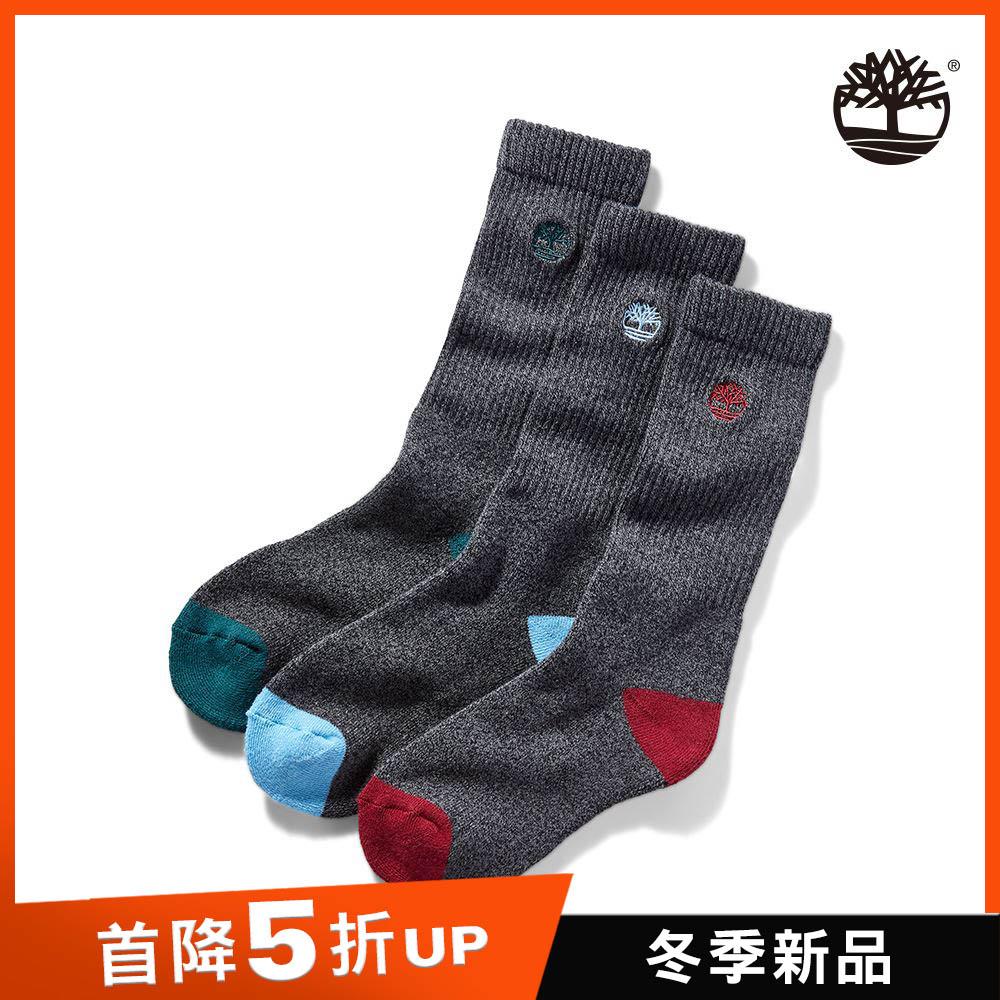 Timberland 中性黑灰撞色大理石紋三件組高筒襪 A1F6J001