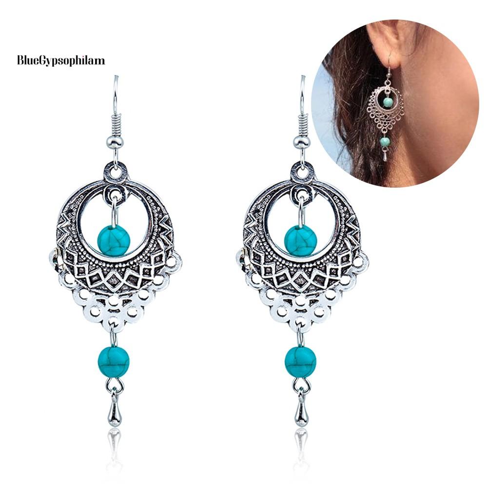 Bluegypsophila Boho女士綠松石珠飾垂墜空心鉤形耳環