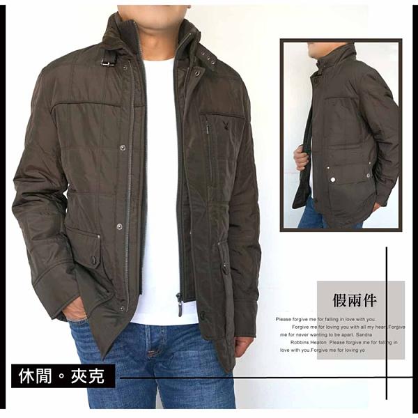 【大盤大】男裝 PLAYBOY 假兩件外套 M號 拉鍊夾克 冬 保暖內裡 多口袋 百貨專櫃 防風 立領 顯瘦