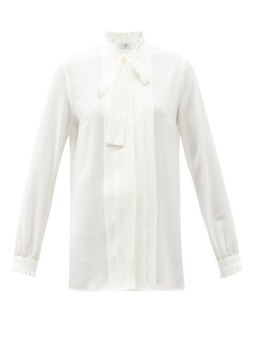 Etro - Sardegna Tie-neck Pleated Silk Blouse - Womens - White