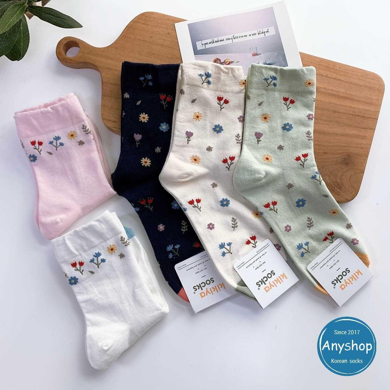 韓國襪-[Anyshop]小碎花撞色長襪