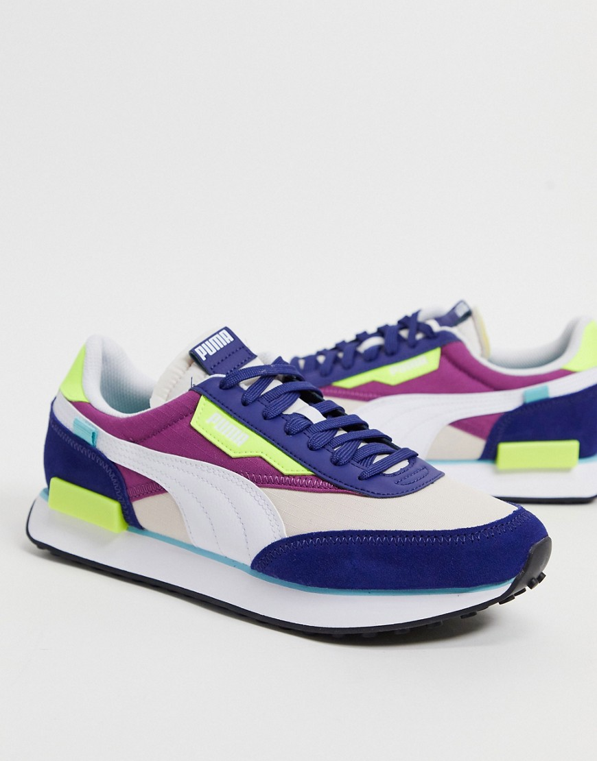 Puma Future Rider Play On trainers in navy and pink
