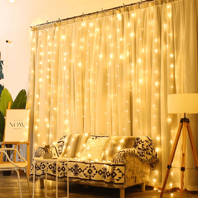極美暖白LED燈串窗簾燈