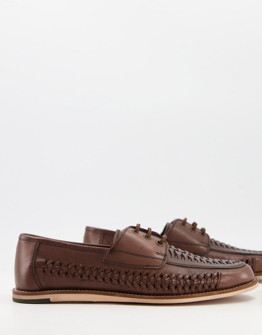 Silver Street woven lace up shoes in brown leather