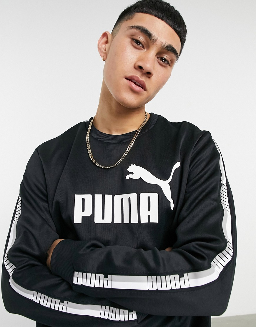 Puma poly crewneck sweatshirt in black