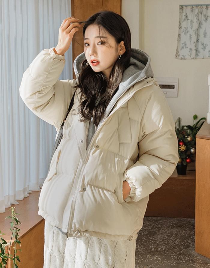 韓國空運 - Hood layered padding 拉鍊外套