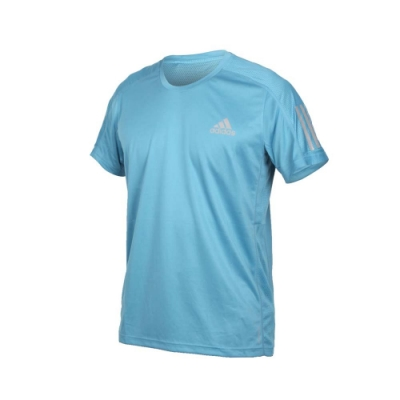 ADIDAS 男短袖T恤-亞規 吸濕排汗 運動 慢跑 路跑 上衣 反光 愛迪達 GJ9966 淺藍銀