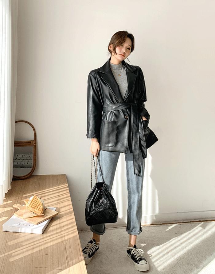 韓國空運 - 腰帶寬鬆啞光西裝夾克