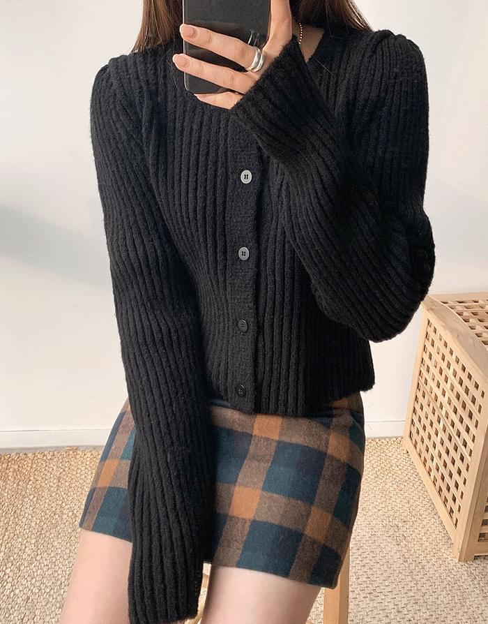 韓國空運 - Square puff cardigan 針織外套