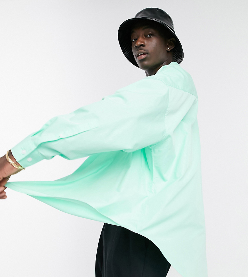 ASOS DESIGN extreme oversized dad shirt in lime green