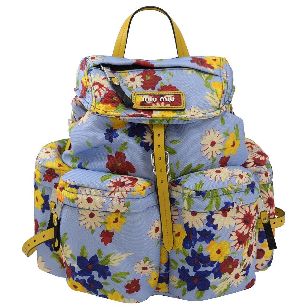 MIU MIU 專櫃商品 5BZ033 花朵造型帆布拼接束口後背包.藍
