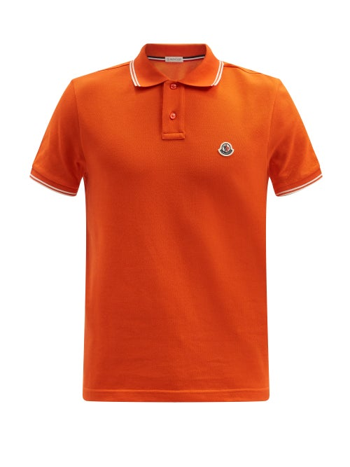 Moncler - Logo-patch Cotton-piqué Polo Shirt - Mens - Orange