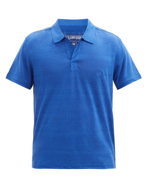 Vilebrequin - Pyramid Open-collar Linen-jersey Polo Shirt - Mens - Blue