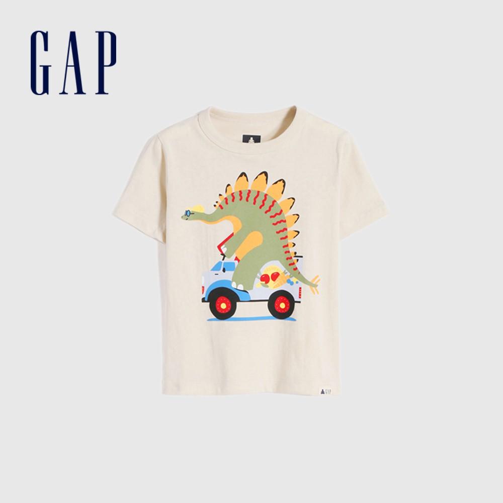 Gap 男幼童 布萊納系列 純棉童趣圓領短袖T恤 681413-灰白色