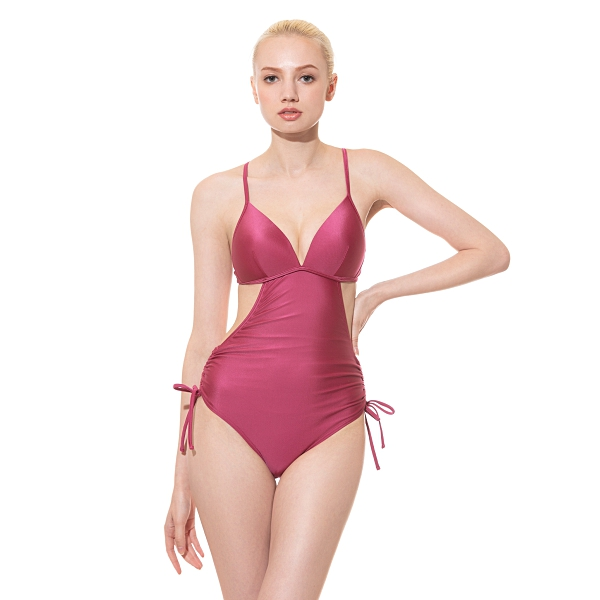 AIRise 抽繩鏤腰空氣連身泳裝-莓果紫