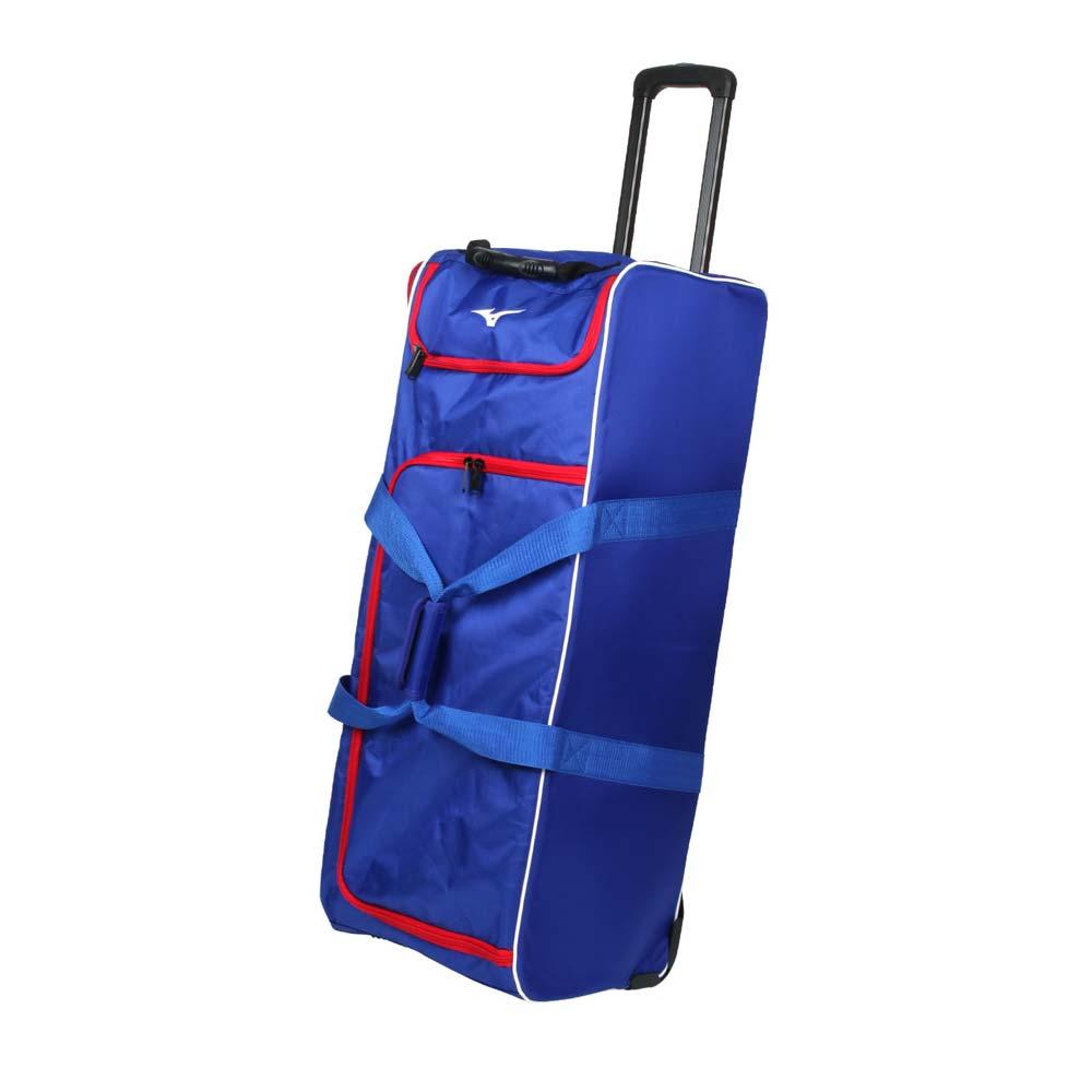 MIZUNO 拖輪袋-台灣製 行李袋 其它裝備袋 92.6L 美津濃 藍紅 F