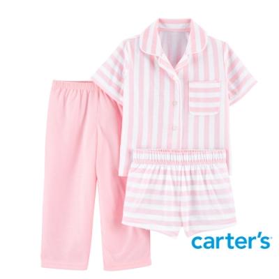 【Carter s】美式粉紅條紋3件組套裝(上衣/長褲)(2T-5T)
