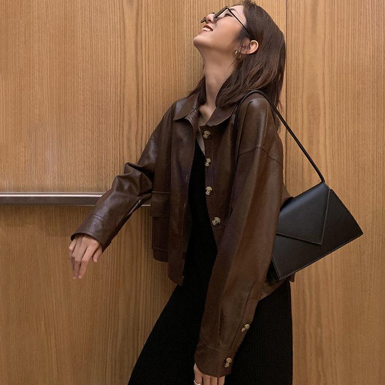 皮衣女士短夾克2020秋冬新款潮BF機車港風味PU洋氣外套加絨厚學生