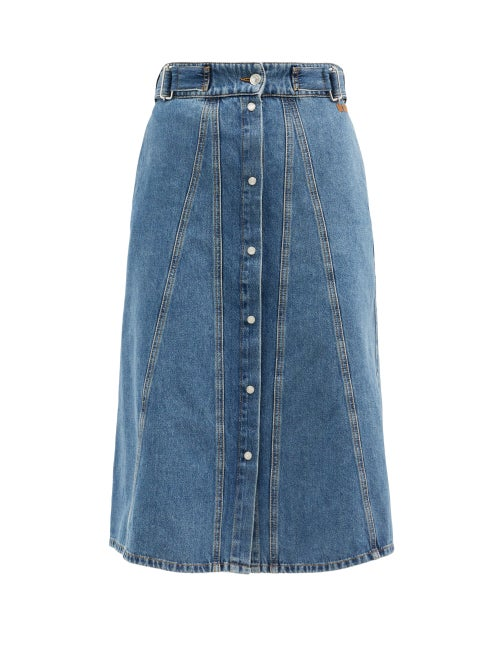 MSGM - High-rise A-line Denim Skirt - Womens - Denim