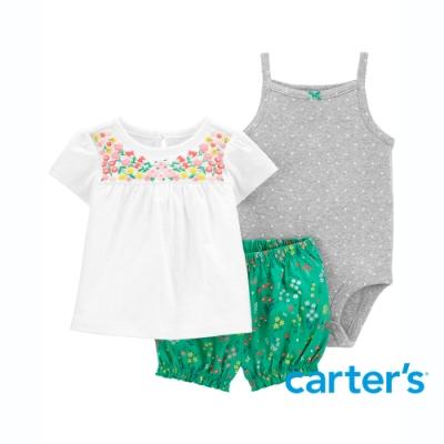 【Carter s】春日草原3件組套裝 (上衣/短褲)(6M-24M)