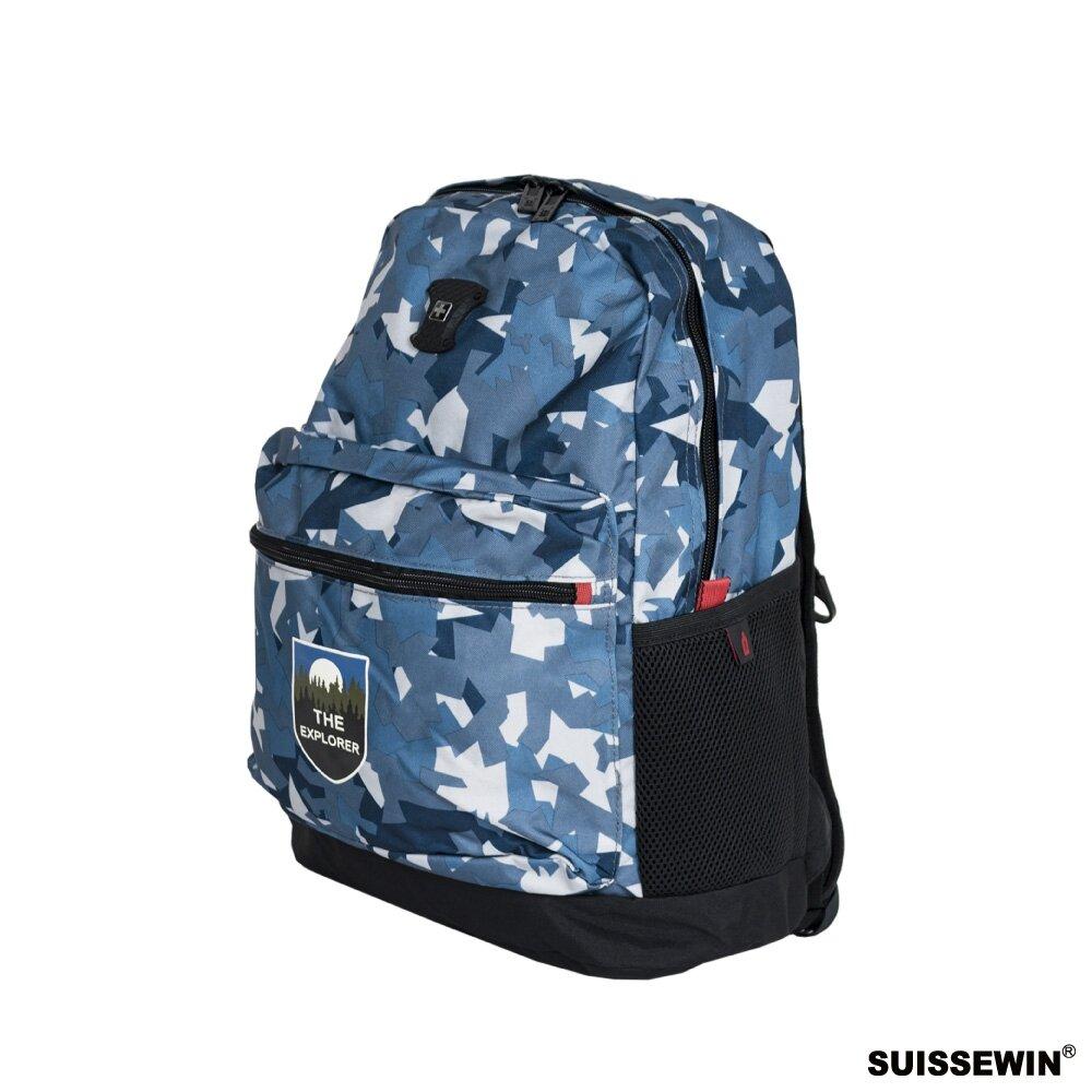 SUISSEWIN 戶外運動日常後背包 迷彩藍 外出包 旅遊包 後背包