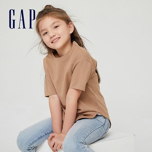 Gap女童 純棉質感厚磅短袖T恤 728128-駝色