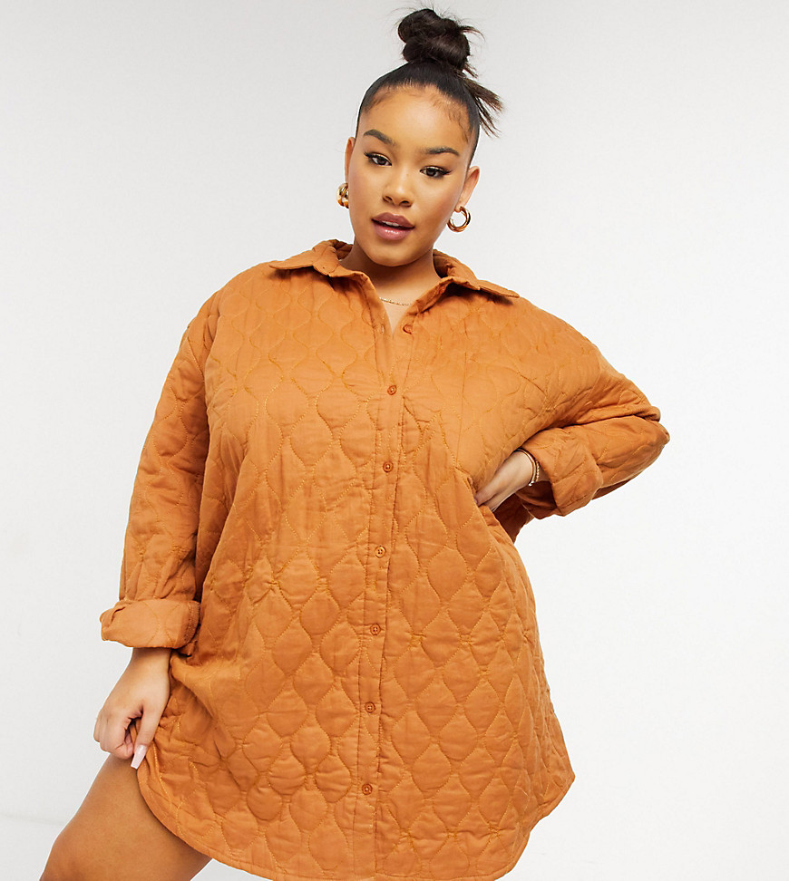 COLLUSION Plus Exclusive quilted shirt dress in brown