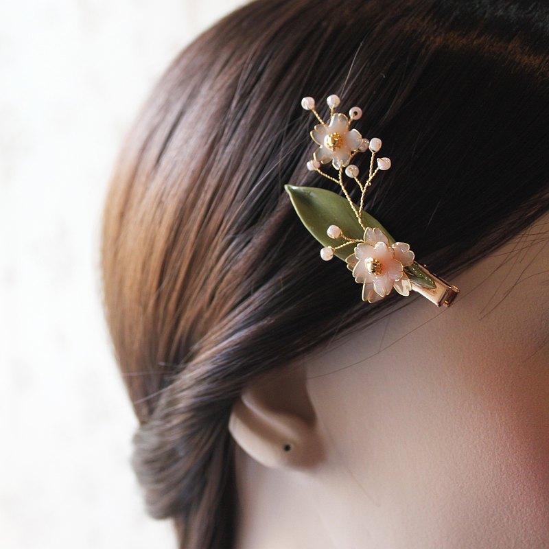 【女人節新品】新春櫻花髮夾 水晶花髮夾 樹脂土 銅線掐絲髮夾