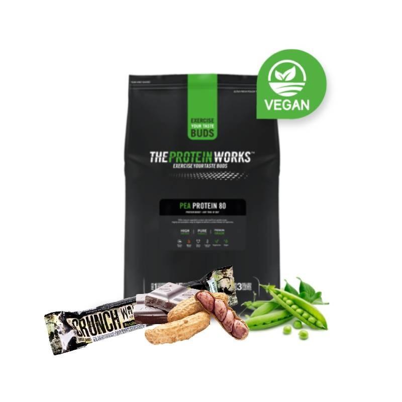 [1+1蛋白新感受] [英國 The Protein Works] 分離豌豆蛋白80(1kg/包)(全素)+ [英國 KBF] Warrior Crunch 蛋白棒-黑巧克力花生口味(64g/條)