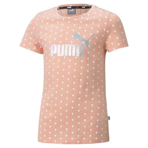 PUMA 女童 ESS+圓點短袖T恤/上衣(粉橘)
