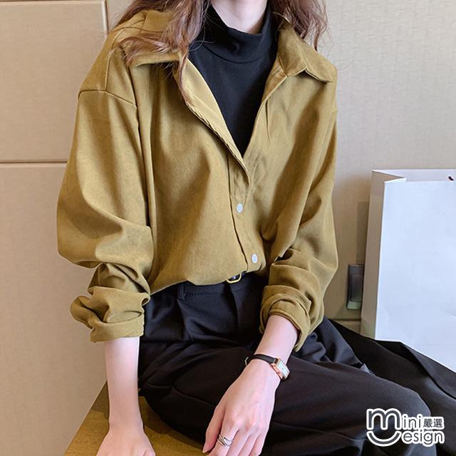 Mini嚴選-假兩件V領襯衫 三色