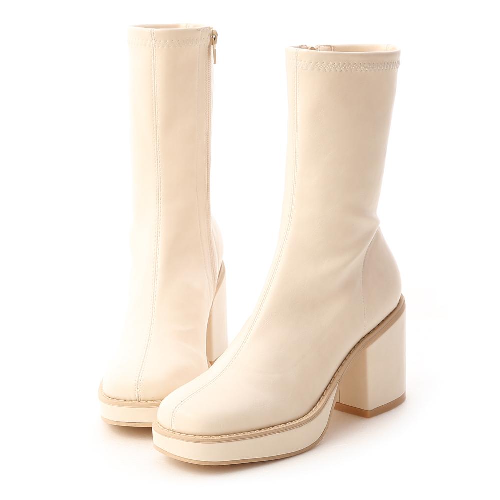 D+AF 超模氣場.加厚水台素面方頭短靴