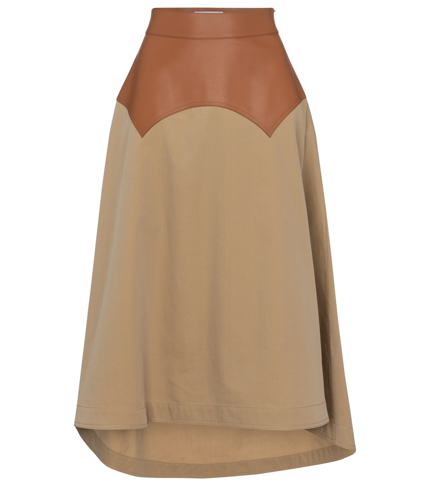 High-rise cotton and leather skirt