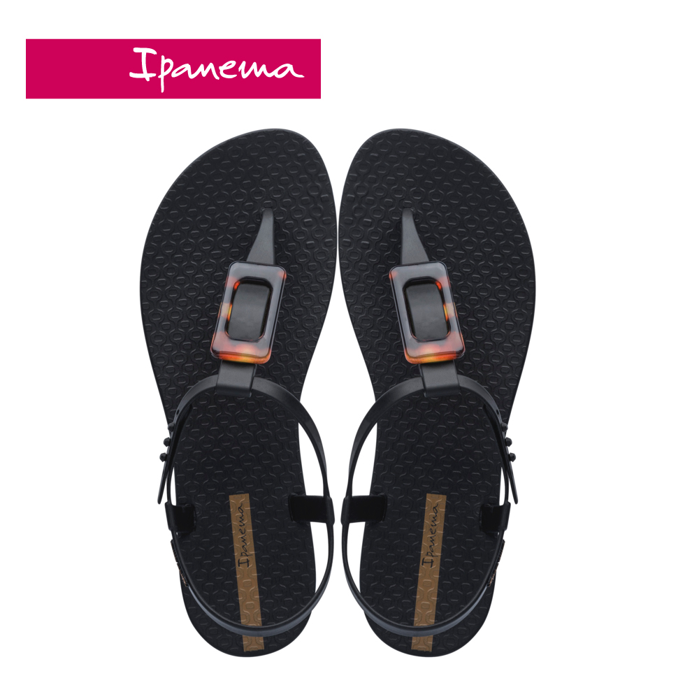 Ipanema [Women]  CLASS LIFE 方型琥珀裝飾T字涼鞋-黑(2654320766)