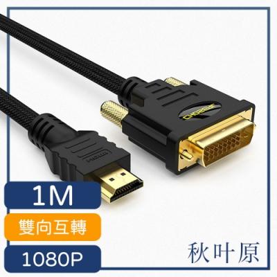 日本秋葉原 HDMI轉DVI高畫質1080P影像雙向傳輸線 1M