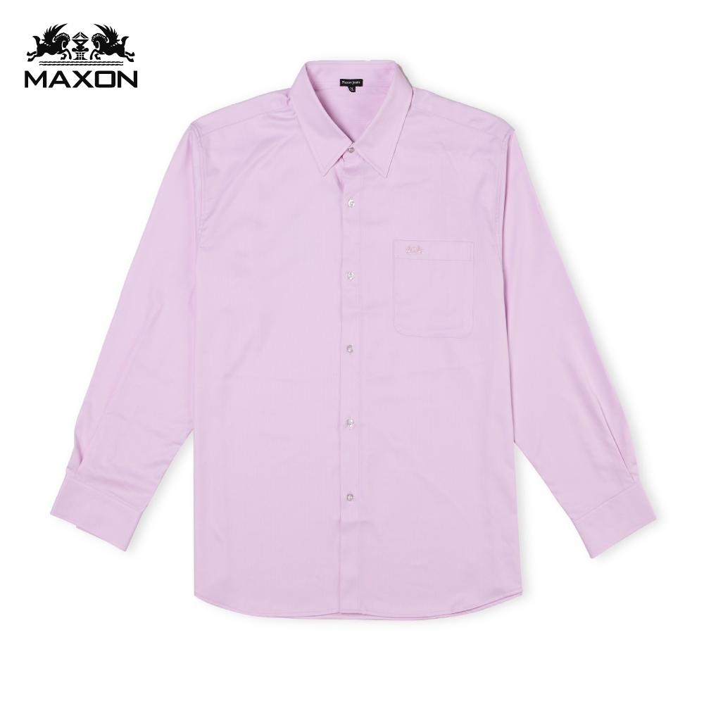 【MAXON】MIT大尺碼淺粉色直條紋彈性機能長袖襯衫2L~5L 82372-13