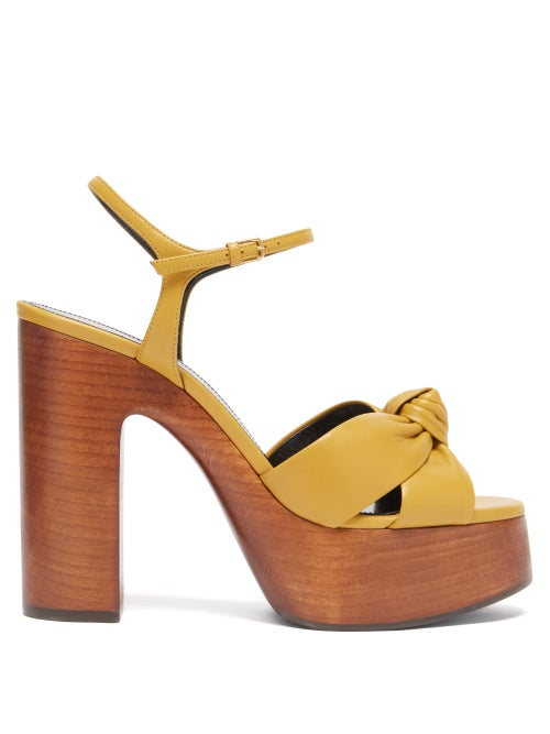 Saint Laurent - Bianca Knotted Leather And Wood Platform Sandals - Womens - Dark Yellow