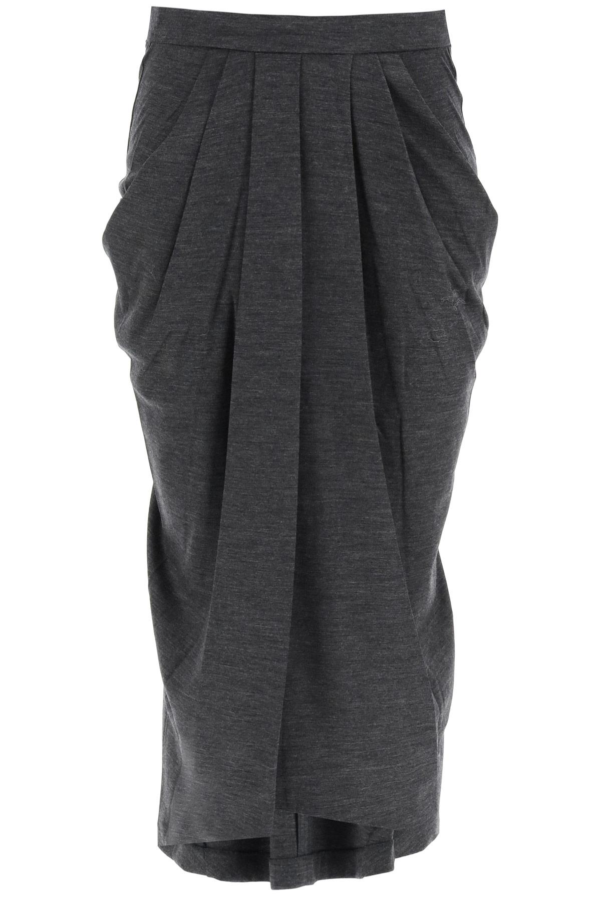ISABEL MARANT GINKAO MIDI SKIRT 34 Grey Wool
