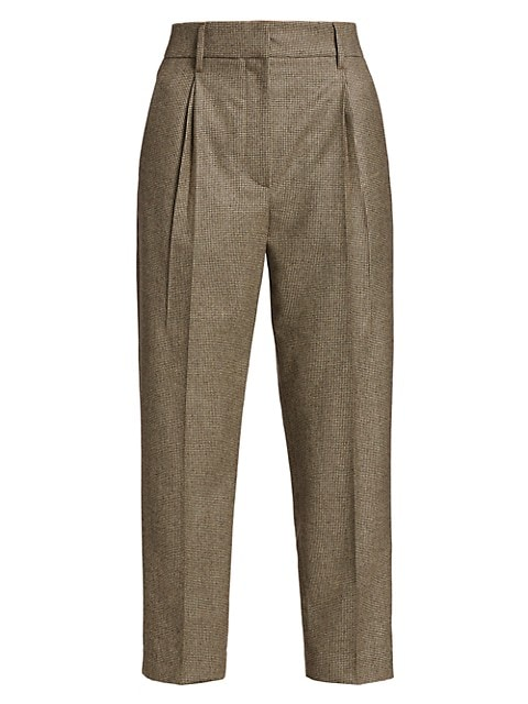 Micro Houndstooth Wool Pleated Pants